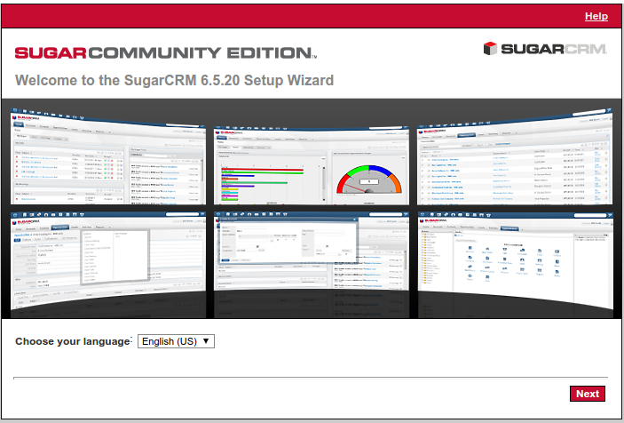 Sugar Setup Wizard  Welcome to the SugarCRM 6.5.20 Setup Wizard.png